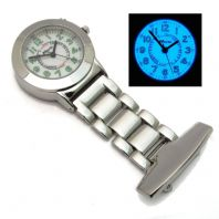 Ravel Nurse's Uniform Fob Watch with Light Bright Electro-luminescent Backlight